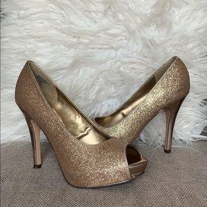 Jacqueline Ferrar Rose Gold Platform Heels